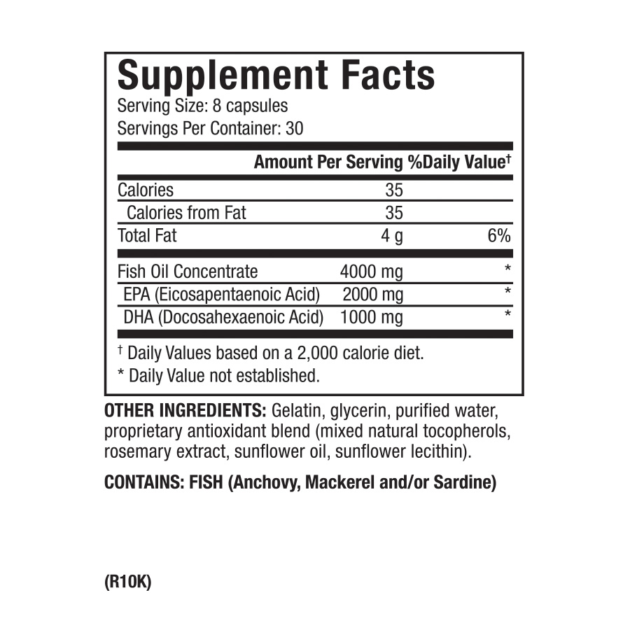 Zone OmegaRx2, 240 micro-capsules Supplement Facts
