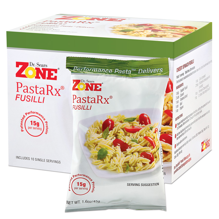 Dr. Sears Zone PastaRx Fusilli - 10-pack of Individual Servings