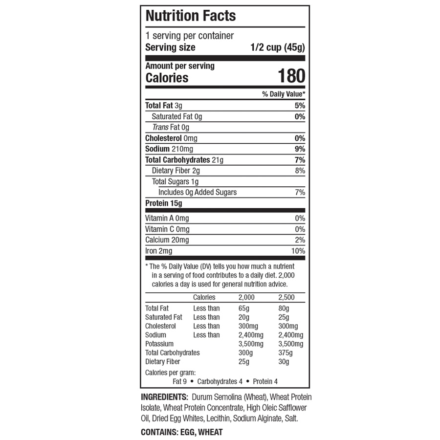 Zone PastaRx Fusilli - Nutritional Facts
