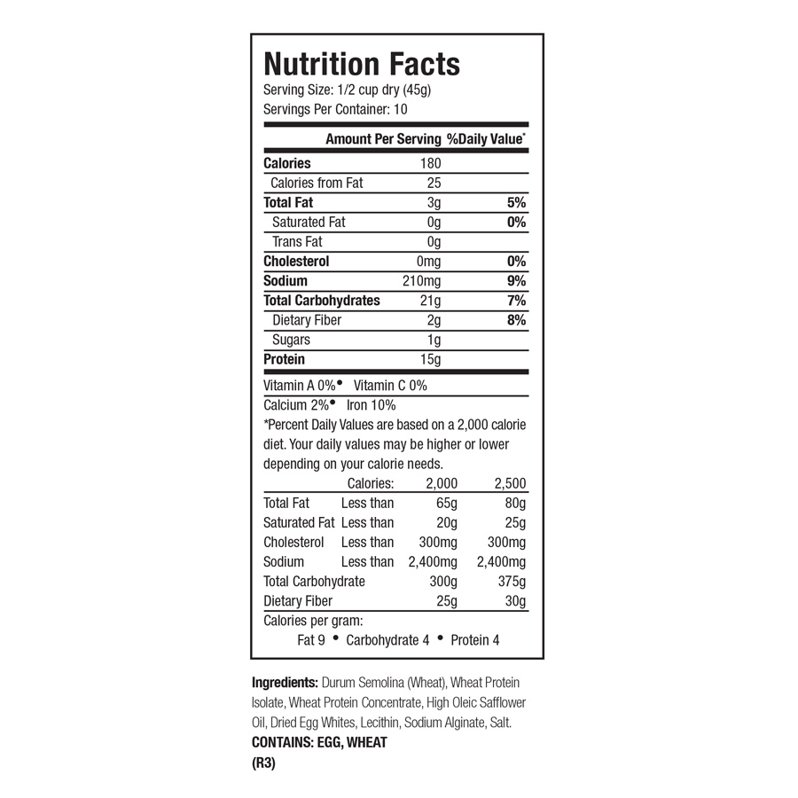 Zone PastaRx Fusilli Nutritional Facts