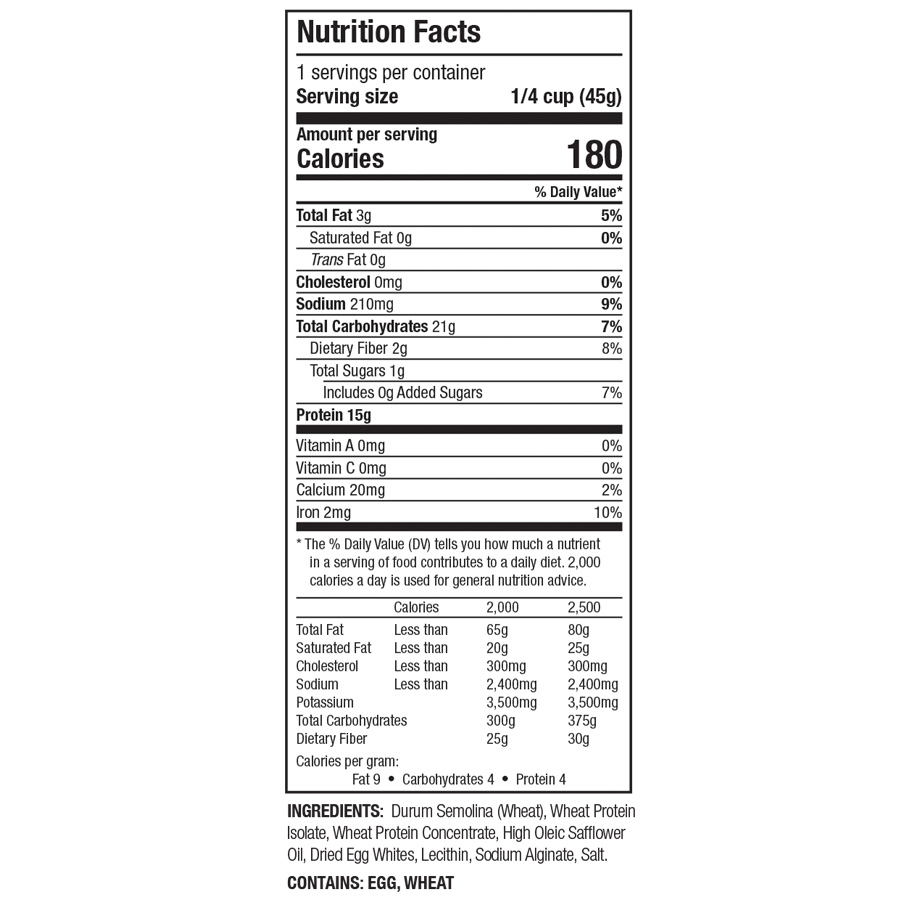 Zone PastaRx Orzo - Nutritional Facts