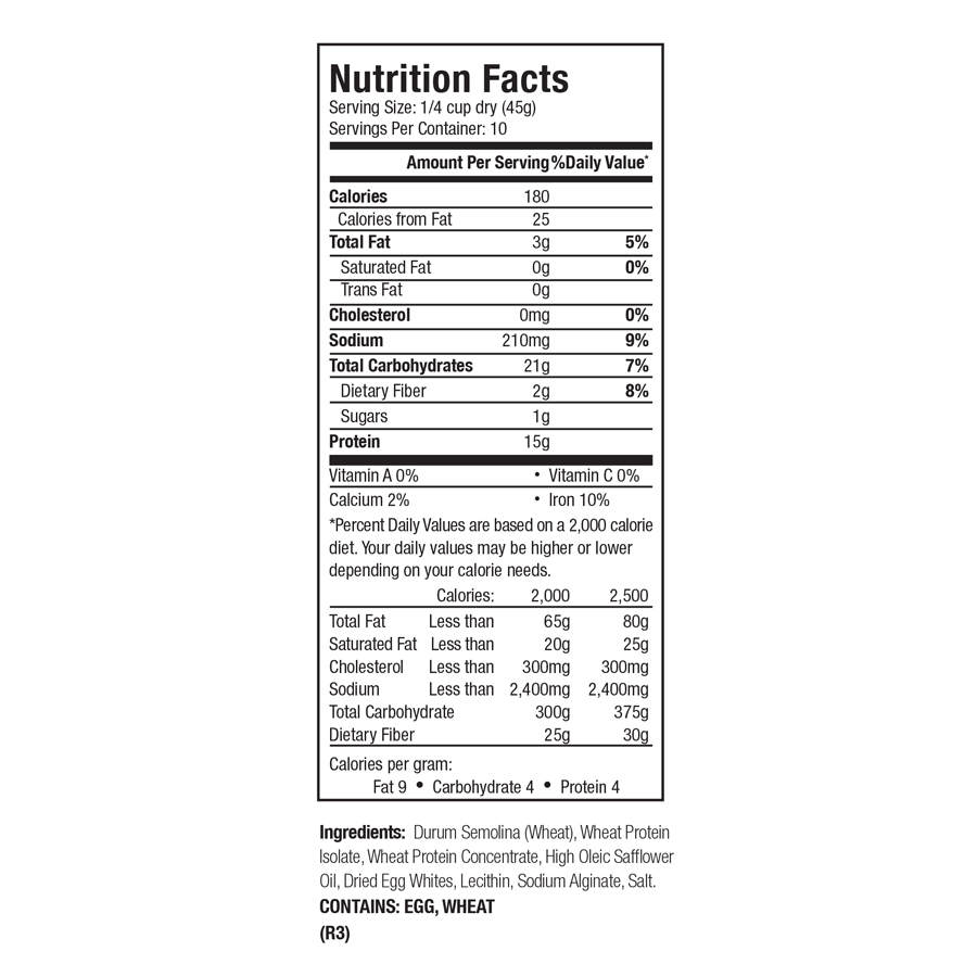 Zone PastaRx Orzo Nutritional Facts