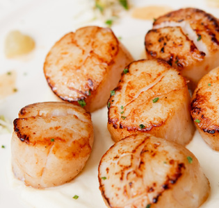 Braised Celery and Apples with Scallops