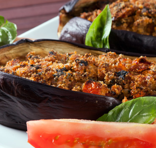 Cheesy Stuffed Eggplant with Salad