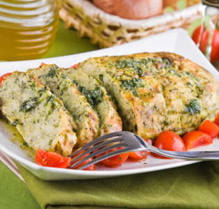 Chicken Chickpea Loaf with Cheesy Brussels Sprouts