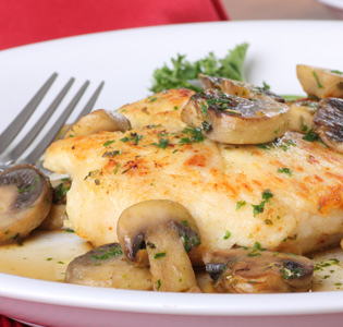 Chicken and Mushrooms over Faux Mashed Potatoes