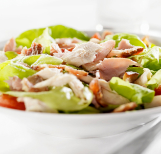 chunks-of-ham-with-salad