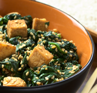 Curried Spinach with Tofu