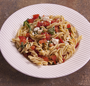Fusilli Basic with Tomato and Feta