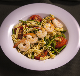 Fusilli with Roasted Tomatoes, Asparagus and Shrimp