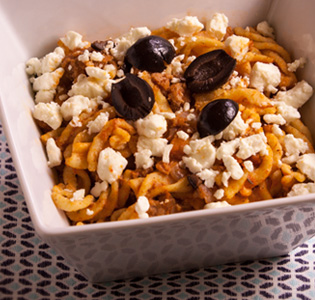 Zone Fusilli with Turkey, Olives and Feta