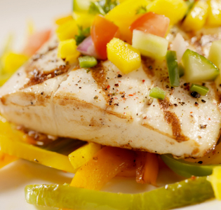 Halibut with Summer's End Vegetables