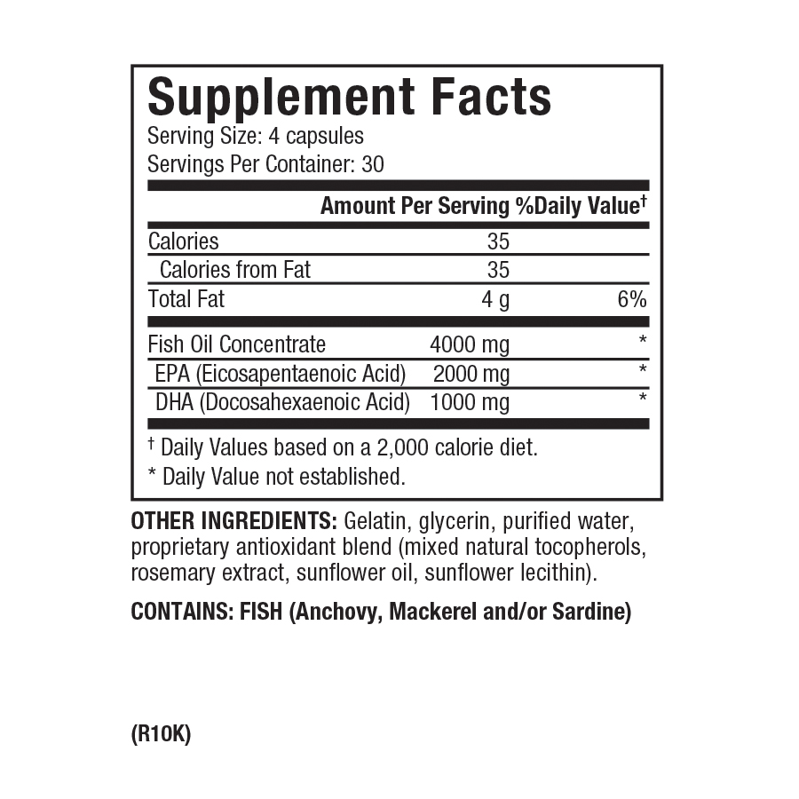Dr. Sears Zone OmegaRx2, 120 Capsules, Fish Oil Supplement Facts