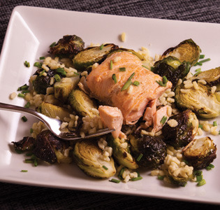 Zone BBQ Salmon & Brussels Baked with Orzo