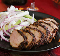 Balsamic Pork Fillet over Red Onions