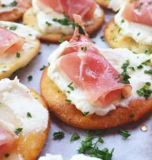 Zone Prosciutto and Egg Cracker