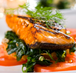 Salmon and Spinach with Balsamic Sauce