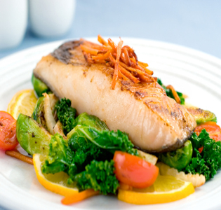 Tangy baked fish with veggies zone diet recipe for Fish and veggie diet