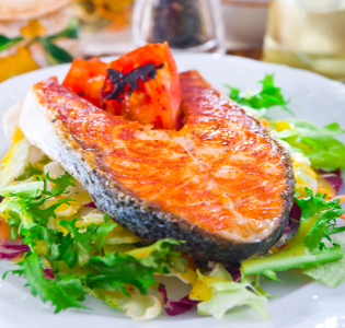 Teriyaki Salmon with Oranges, Tomatoes and Beans