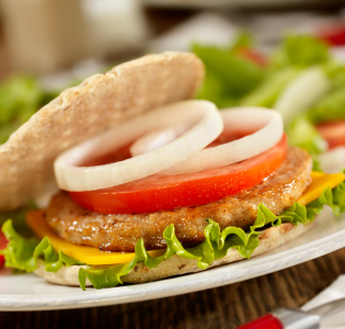 Turkey Burgers with Spicy Slaw and Fruit Salad