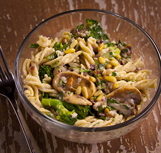 Vegetable Fusilli with Pine Nuts