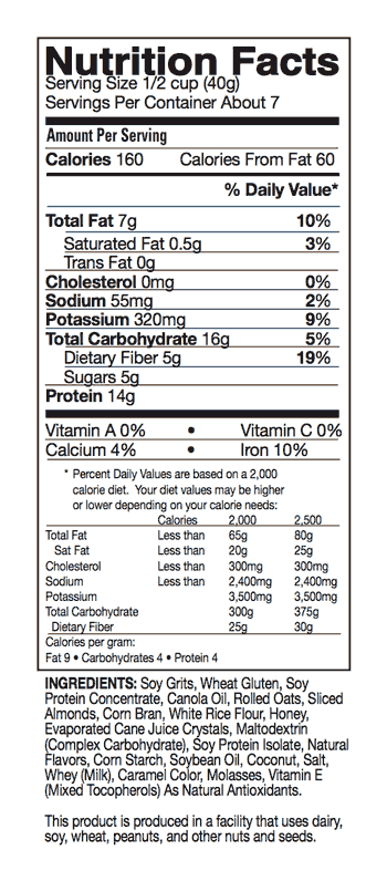 Dr. Sears' Zone Breakfast Cereal - Nutrition Facts
