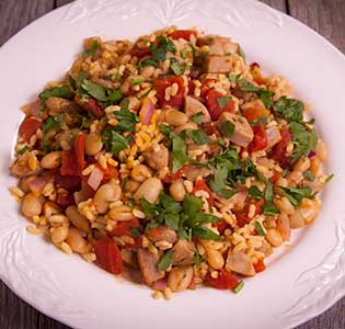 Bean and Sausage Orzo - Zone Diet Recipes