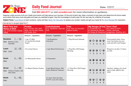Zone Diet: Daily Food Journal Example